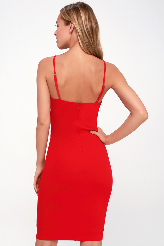 49b585a5bf7 Sexy Red Bodycon Dress - Red Dress - Red Bodycon Mini Dress