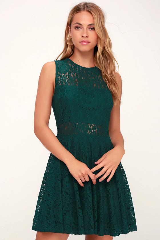 Cute Lace Dress - Green Skater Dress - Green Cutout Skater Dress 9975118ffc10