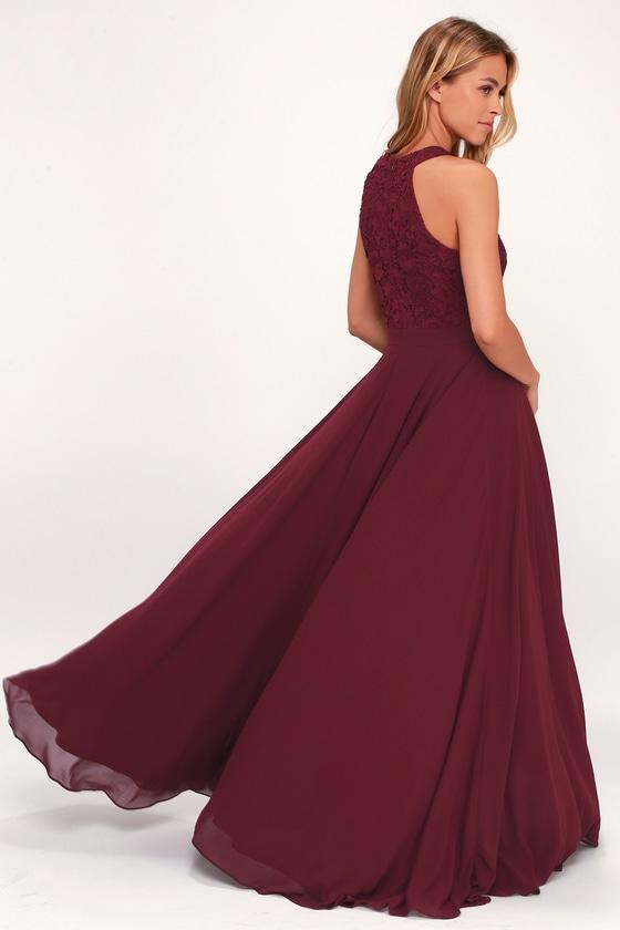 53e642cf88e Elegant Burgundy Maxi Dress - Lace Dress - Halter Maxi Dress