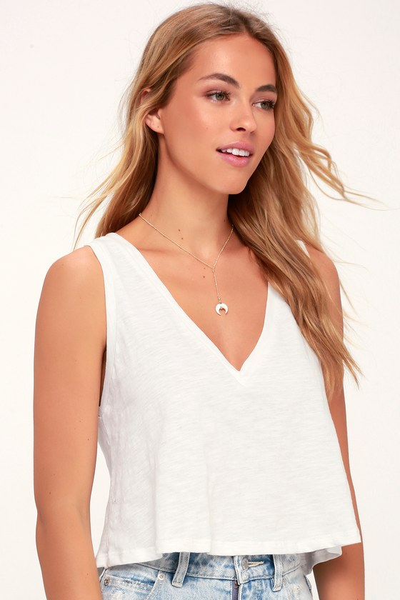 Loretta White Cropped Tank Top by Lulus