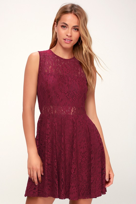 Cute Lace Dress - Wine Red Skater Dress - Cutout Skater Dress 685080039