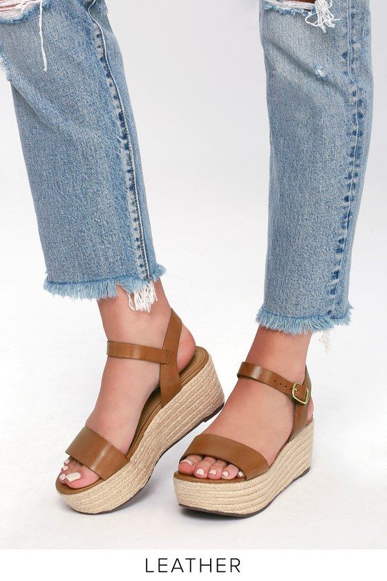 e89cef7f467 Steve Madden Busy Cognac - Leather Sandals - Espadrilles