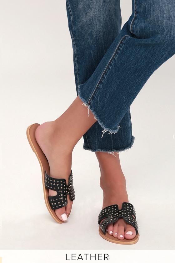 0685c422e70 Steven by Steve Madden Greece - Black Studded Sandals