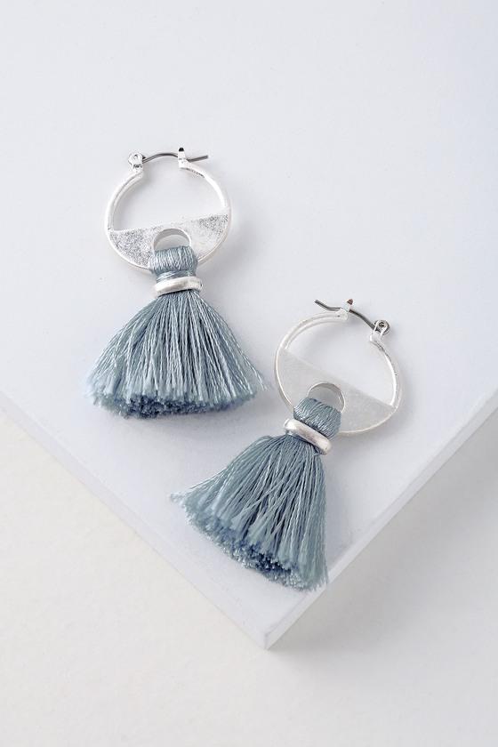 1f6e8b1ce086e7 Chic Silver and Blue Tassel Earrings - Geometric Earrings