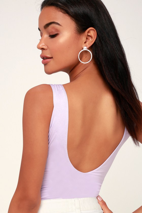 Check You Out Lavender Sleeveless Bodysuit by Lulus