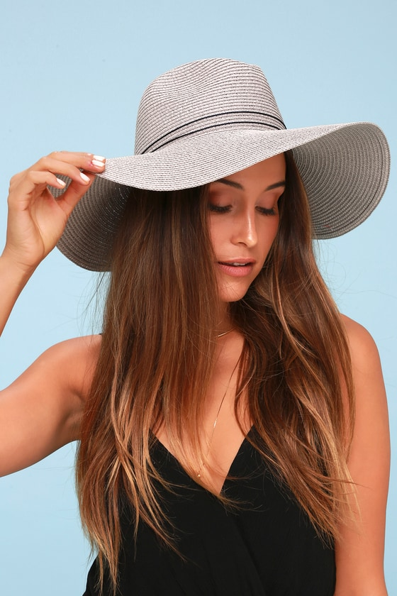 ad964ba1 Cute Floppy Hat - Straw Hat - Grey Hat - Sun Hat - Woven Hat