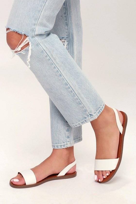 a051c1515d3 Steve Madden Alina - White Sandals - Flat Sandals
