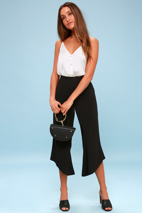 e5ef847b7256 Chic Black Culottes - Black Cropped Pants - Black Wide Leg Pants
