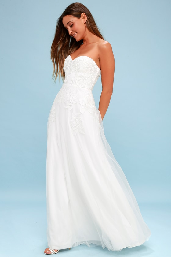 ISIDORE WHITE EMBROIDERED STRAPLESS MAXI DRESS