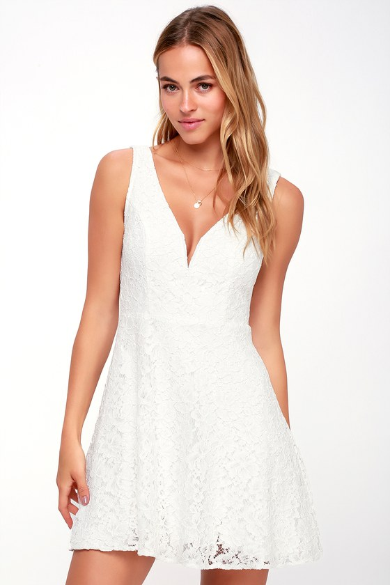 Declaring My Love White Lace Skater Dress