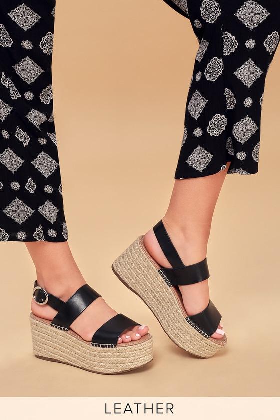 461271aac1d Steve Madden Cali - Leather Platform Sandals - Black Sandals