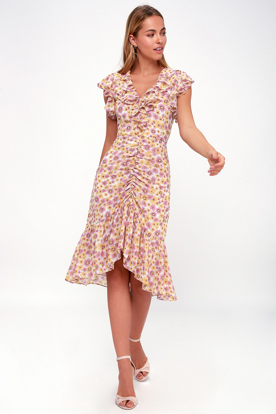 1930s Style Dresses | 30s Art Deco Dress Daphne Pink and Yellow Floral Print Midi Dress - Lulus $95.00 AT vintagedancer.com