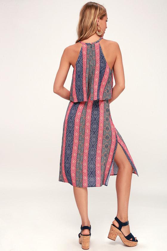 5f90e6d93d Cute Midi Dress - Boho Dress - Flounce Dress - Blue Print Dress