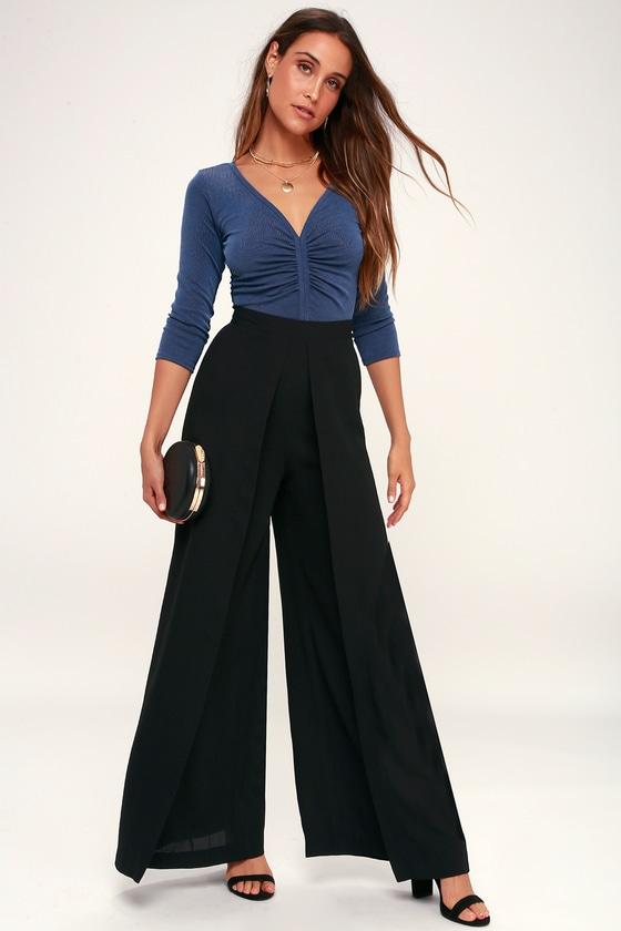 60s – 70s Pants, Jeans, Hippie, Bell Bottoms, Jumpsuits Stride and True Black Wide-Leg Pants - Lulus $54.00 AT vintagedancer.com