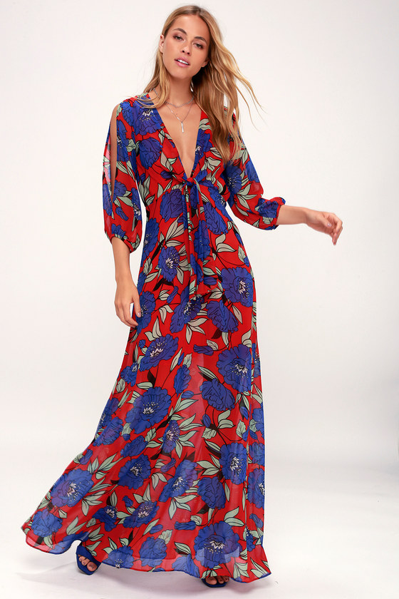 2fc985b388 Lovely Red Floral Print Dress - Long Sleeve Dress - Maxi Dress