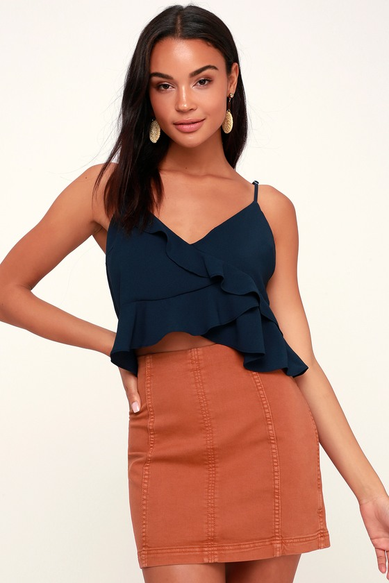 Modern Femme Terracotta Denim Mini Skirt by Free People