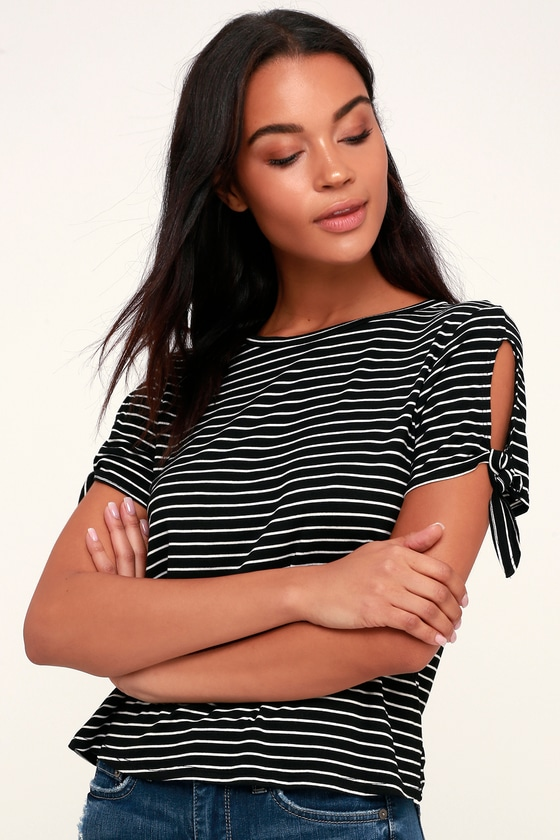 New Latitude Black And White Striped Tee by Lulus