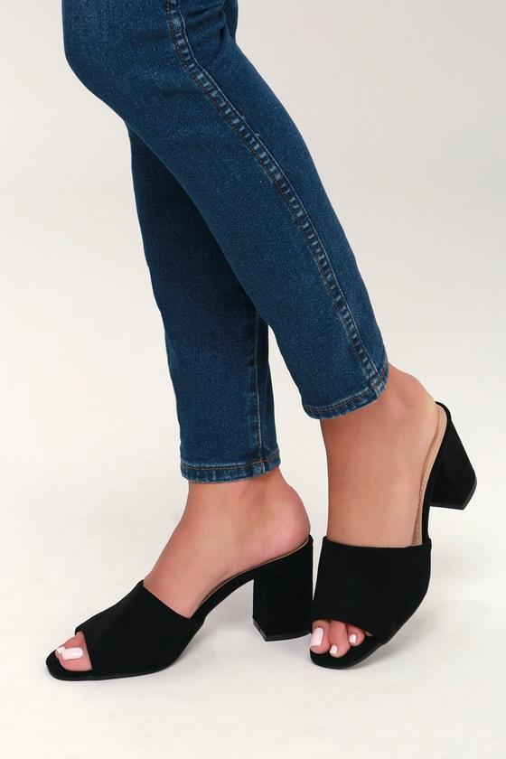 d95a38a4dca8 Chic Black Mules - Vegan Suede Mules - Peep Toe Mules