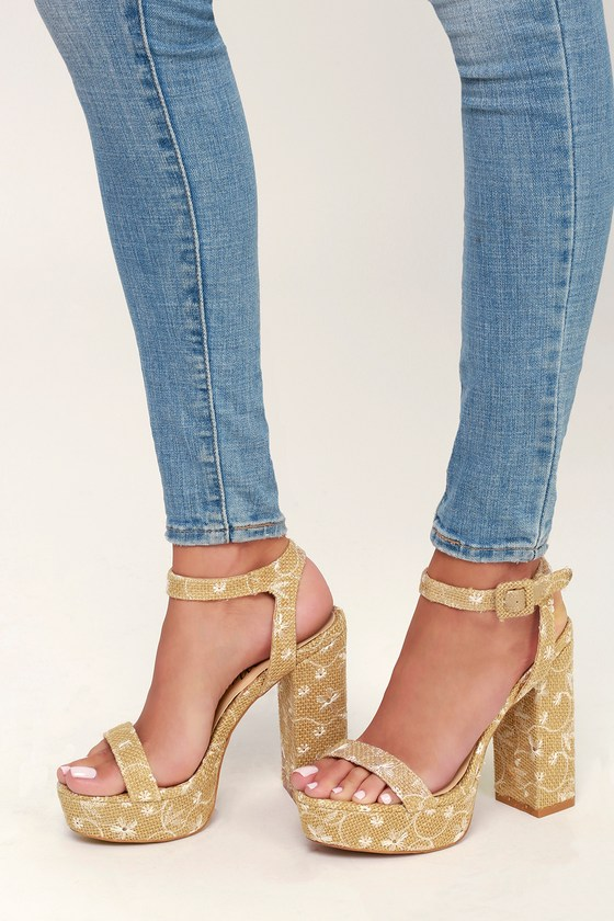 Caro Tan Floral Woven Ankle Strap Heels - Lulus