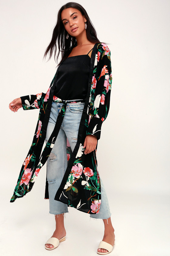 764ac67130348 Black Floral Print Kimono - Boho Kimono - Midi Kimono - Robe