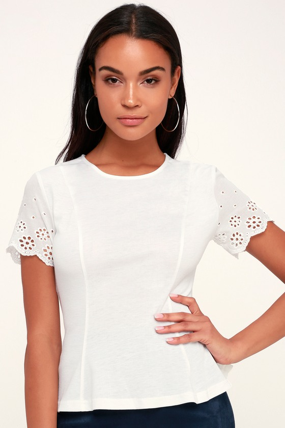 Kathleen White Eyelet Sleeve Peplum Top by Lulus