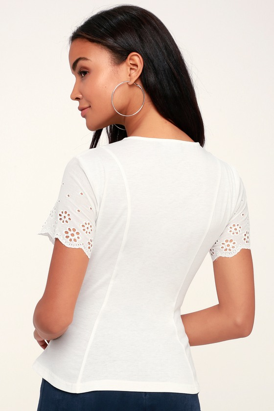 c877a4cd79b4d0 Cute Top - Lace Sleeve Top - Office Wear - White Top - Eyelet Top