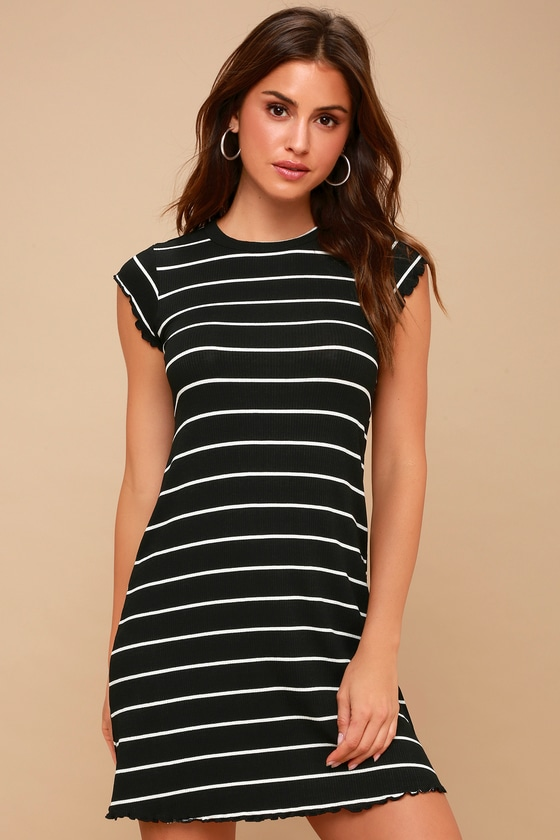 Billabong Right Move Black And White Striped Dress Mini Dress