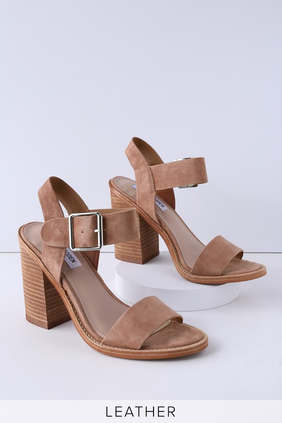 Lulus Castro Tan Genuine Suede Leather High Heel Sandal Heels - Lulus rDenYP0