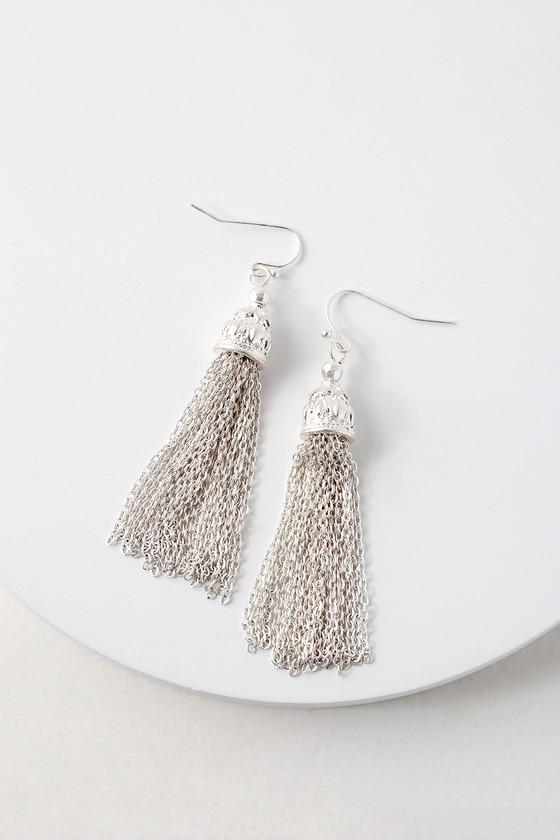 d725744535a2c0 Boho Silver Tassel Earrings - Silver Earrings - Boho Earrings