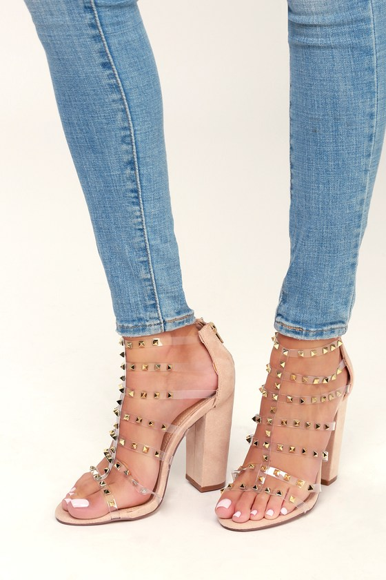 Lulie Nude Studded Caged Heels by Lulu's
