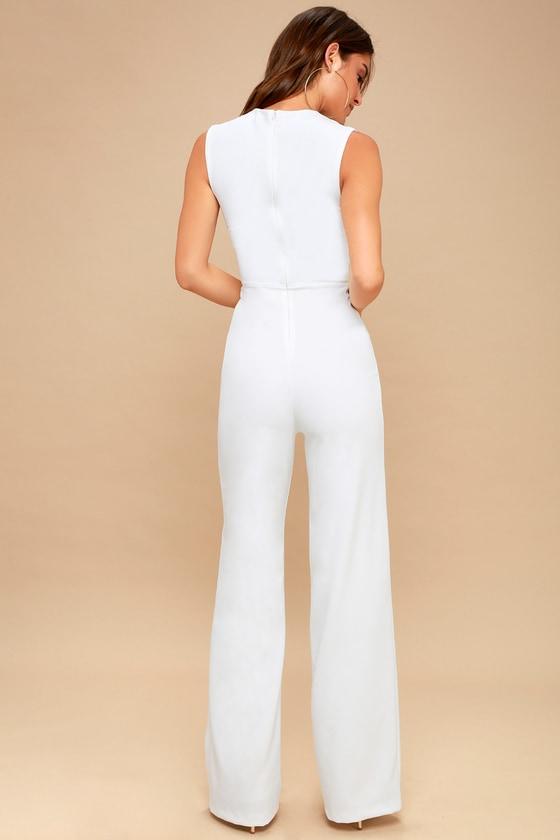 b0c1589ccdc Chic White Jumpsuit - Sleeveless Jumpsuit - Wide Leg Jumpsuit