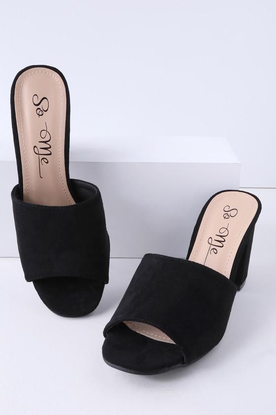 e2f3bd8aa3f Chic Black Mules - Vegan Suede Mules - Peep Toe Mules