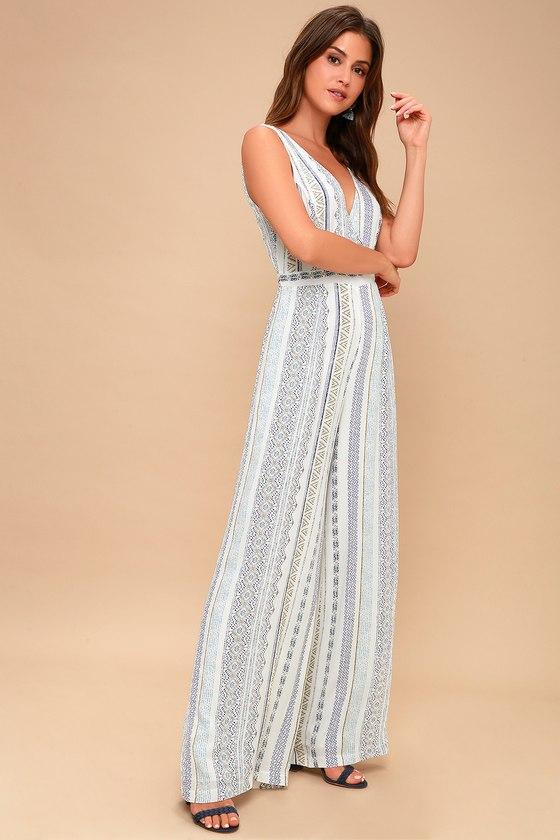 64c1c7971871 Blue and White Print Jumpsuit - Boho Wide-Leg Jumpsuit