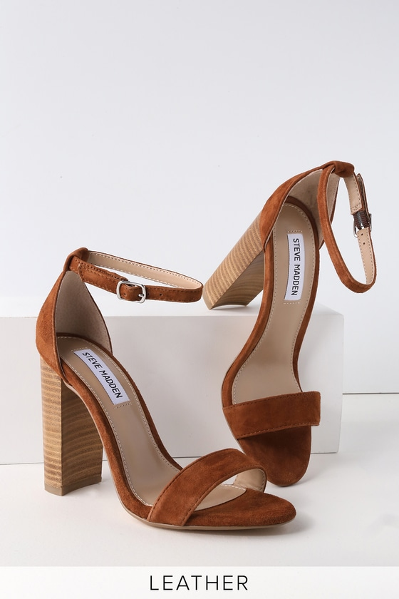 54a53e8987b Steve Madden Carrson - Chestnut Heels - Suede Ankle Strap Heels