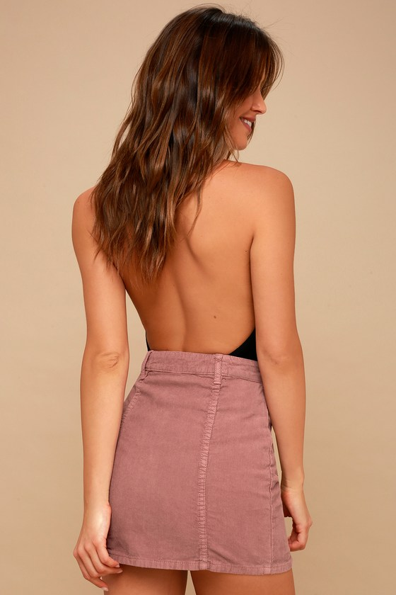 5494fa971 Billabong Push My Buttons - Mauve Mini Skirt - Corduroy Skirt