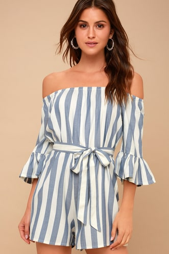 52fbce609c45 Fun For Now Blue and White Striped Off-the-Shoulder Romper