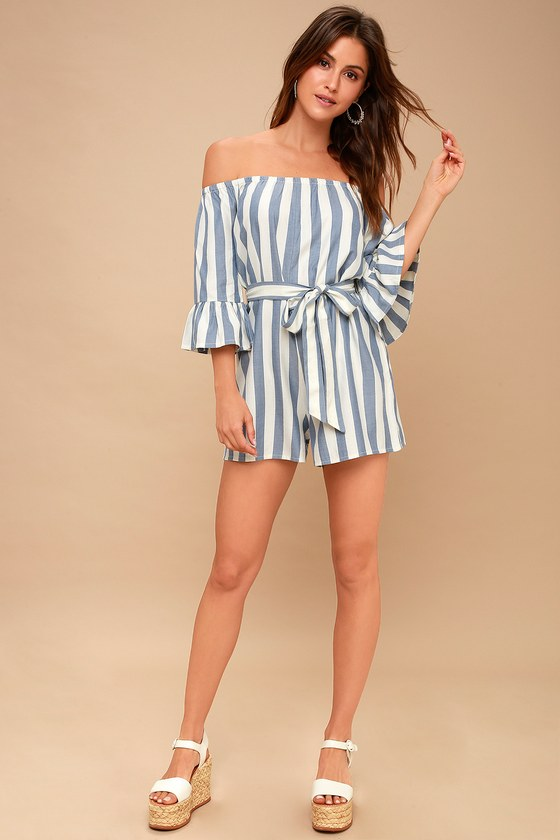 94bc0207ae8a7 Fun For Now Blue and White Striped Off-the-Shoulder Romper