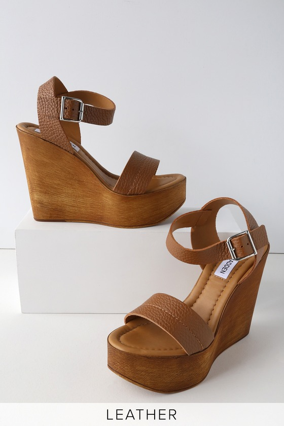 5c0d330aec7 Steve Madden Belma Tan - Leather Wedges - Wedge Sandals