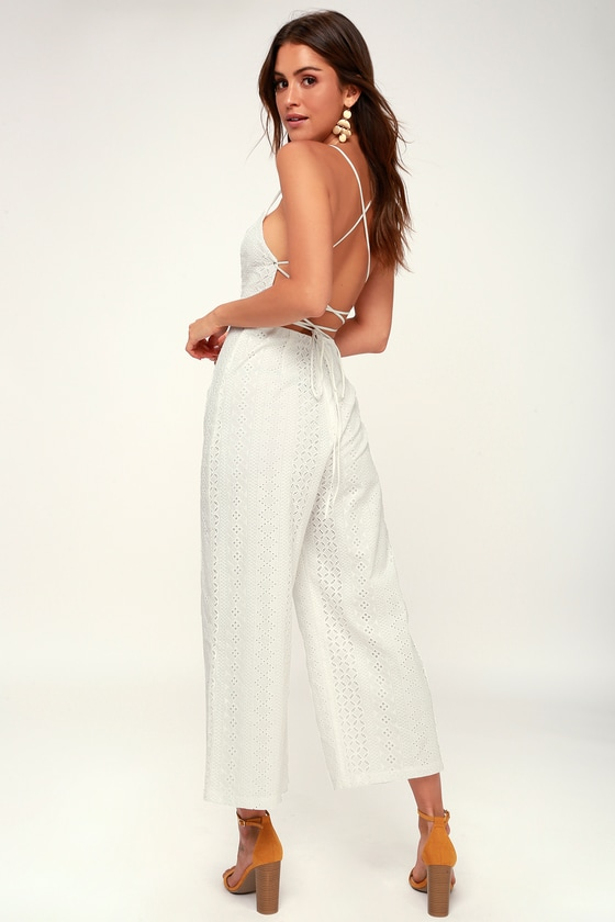 Leighton White Lace Lace Up Culotte Jumpsuit by Astr The Label
