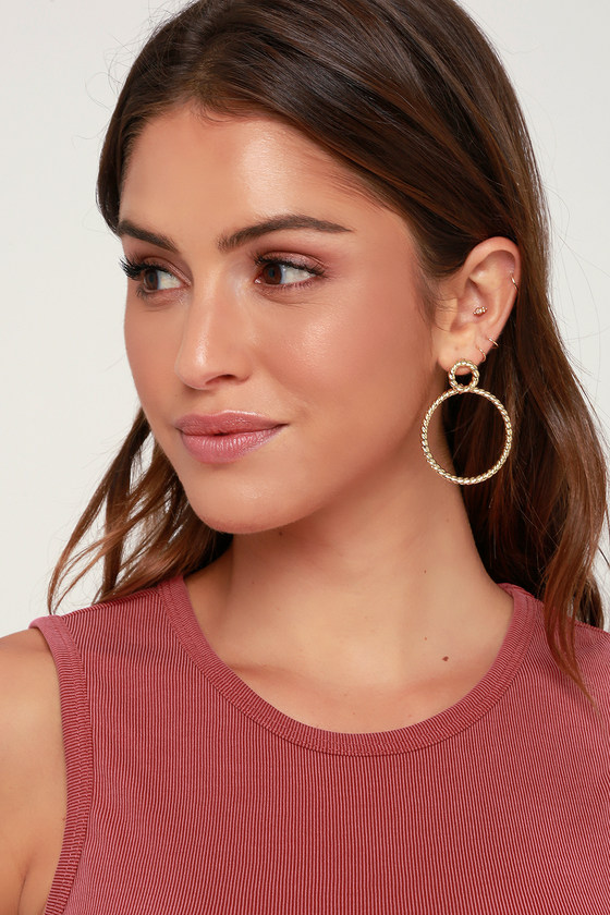 Tangled In Love Gold Hoop Earrings by Lulus