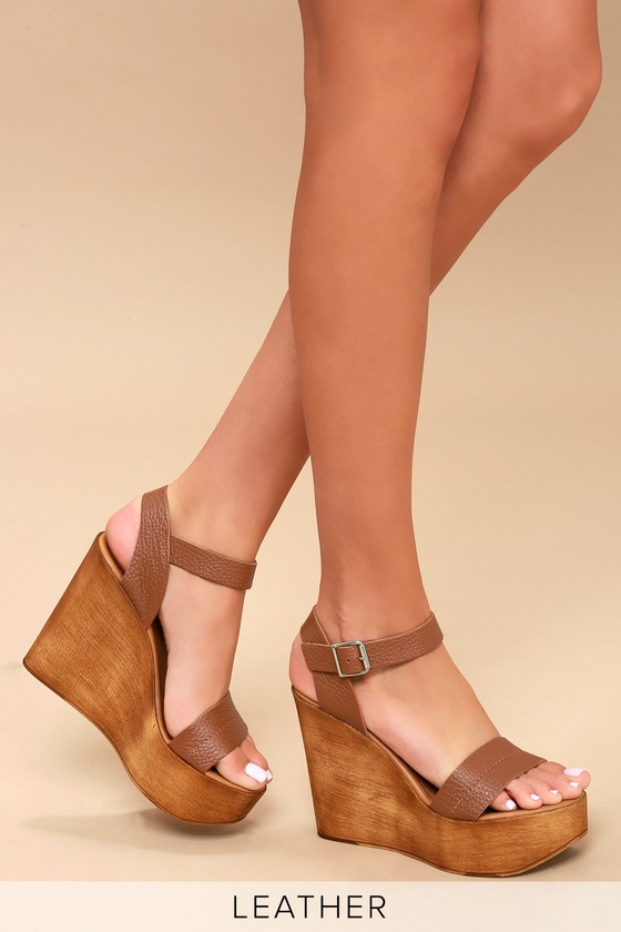 7055ad7513c Steve Madden Belma Tan - Leather Wedges - Wedge Sandals
