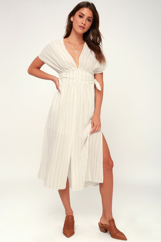 ASTR The Label SIERRA WHITE AND TAUPE STRIPED MIDI DRESS