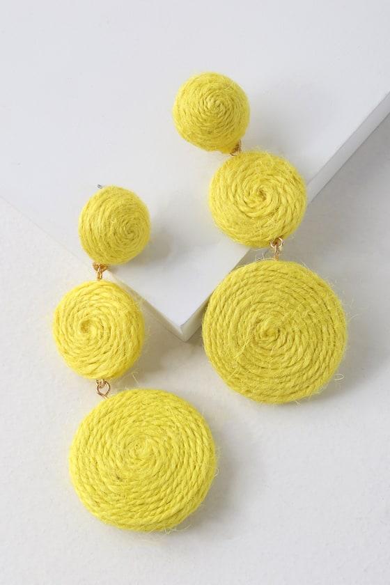 b87cd3098a19de Cute Yellow Earrings - Woven Earrings - Circle Earrings