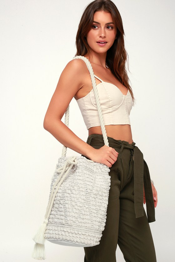 Perth Ivory Woven Bucket Bag by Lulus