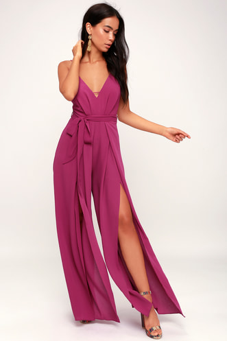27d5692655bf Hype Dream Magenta Backless Wide-Leg Jumpsuit