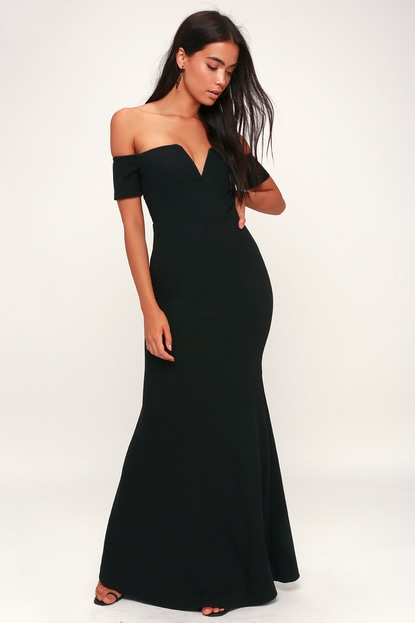 K'Mich Weddings - wedding planning - bridesmaids dresses - LYNNE BLACK OFF-THE-SHOULDER MAXI DRESS - lulus