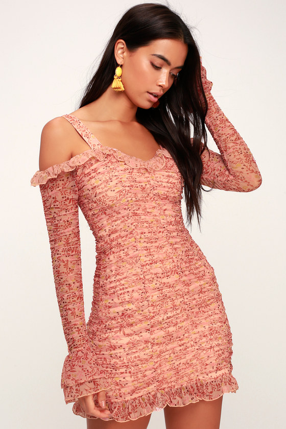 Faded Blush Pink Print Ruched Off The Shoulder Bodycon Dress by Finders Keepers
