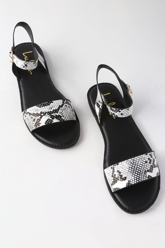 Hearts And Hashtags Black Snake Flat Sandals by Lulus