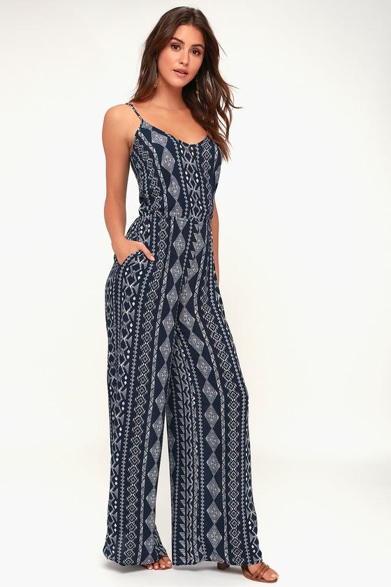 Nash Navy Blue Print Jumpsuit by Lulus
