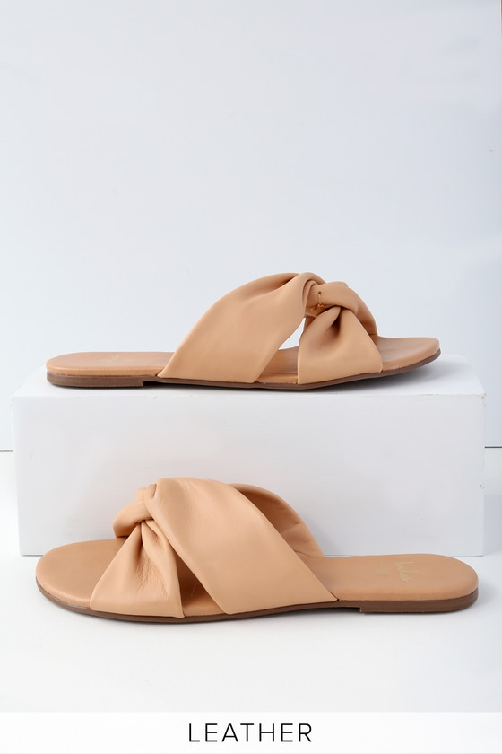 Tilly Tan Nappa Leather Slide Sandals by Lulus